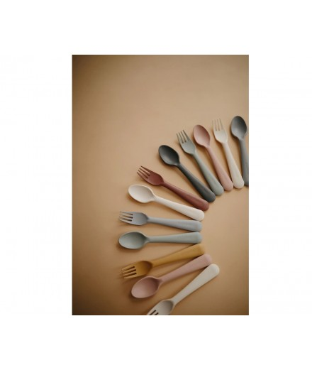 SPOON AND FORK SET MUSTARD