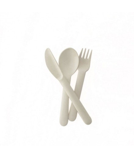 Bamboo Trio cutlery set - WHITE