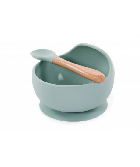 SILICONE BOWL AND SPOON - BLUE