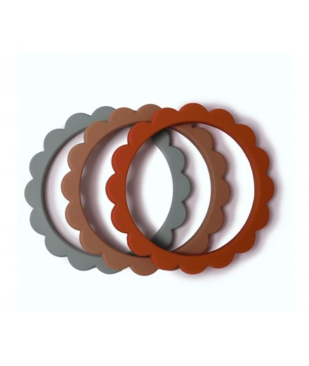 MORDEDOR PULSEIRA - PACK 3 (CAMBRIDGE BLUE/CLEMENTINE/NATURAL)