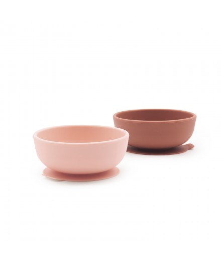 SILICONE SUCTION BOWLS - BLUSH/TERRACOTTA