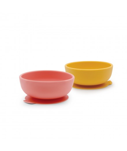 SILICONE SUCTION BOWLS - CORAL/MIMOSA