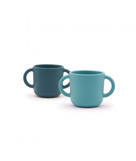 SILICONE CUPS WITH HANDLES - BLUE ABYSS/LAGOON