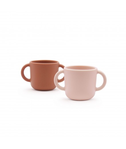 SILICONE CUPS WITH HANDLES - BLUSH/TERRACOTTA
