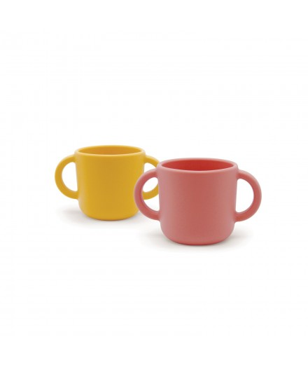 SILICONE CUPS WITH HANDLES - CORAL/MIMOSA