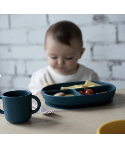 SILICONE SUCTION DIVIDED PLATE - BLUE ABYSS