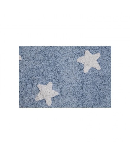 Washable rug Stars Blue - White