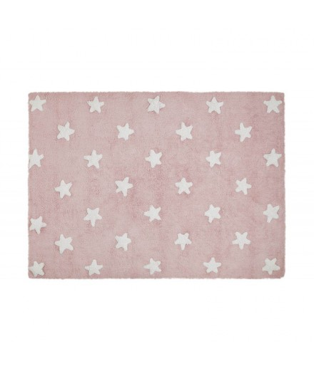 Washable rug Stars Pink - White