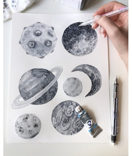 Planet Stickers - Grey