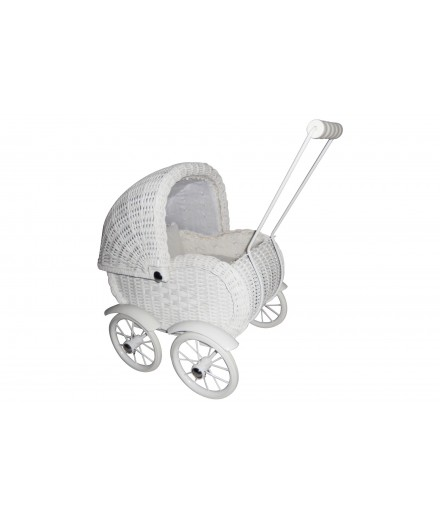 Doll wicker pram - white