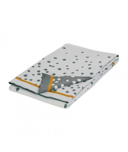 Knitted Blanket Happy Dots - Grey