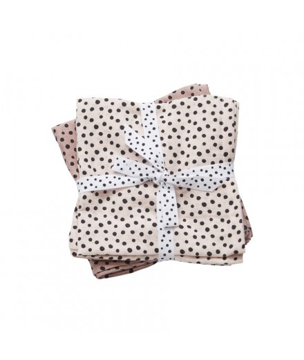 Burps Cloth 2-pack Happy Dots Pink