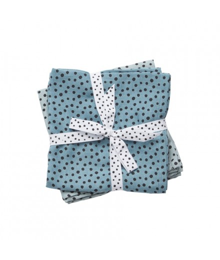 Burps Cloth 2-pack Happy Dots Blue