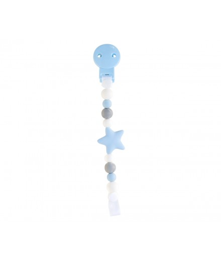 Silicone Pacifier Strap Star Blue