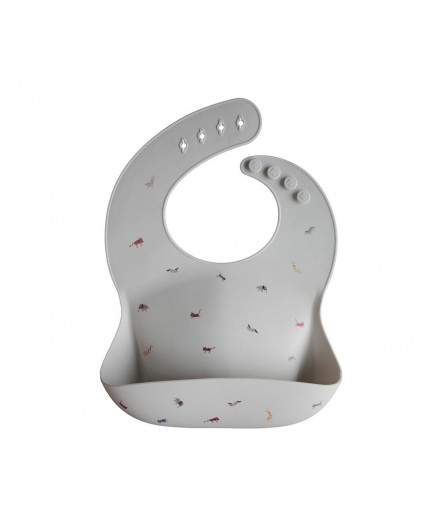 silicone bib - safari light grey