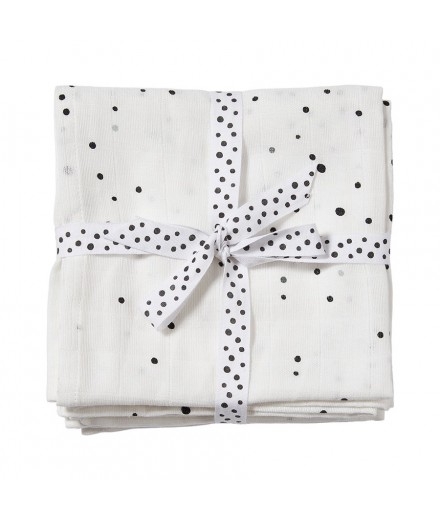 Burps Cloth 2-pack Dreamy dots white