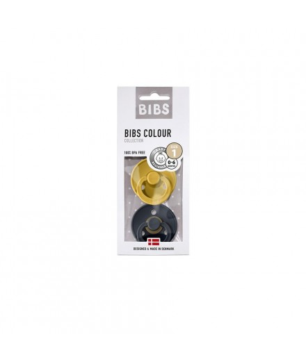 BIBS 0-6 M mustard/dark denim
