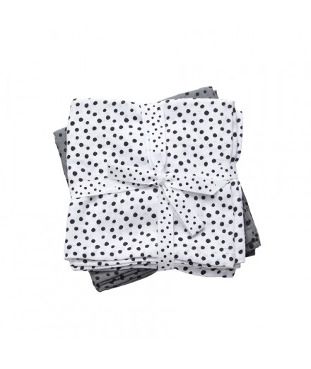 Burps Cloth 2-pack Happy Dots Grey