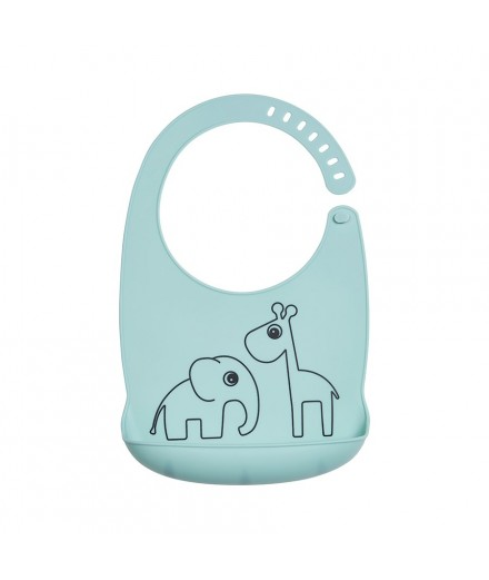 silicone bib deer friends blue