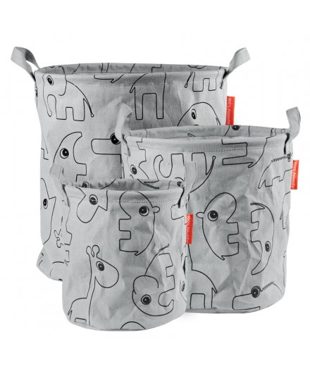 Storage Baskets contour grey - 3 pcs