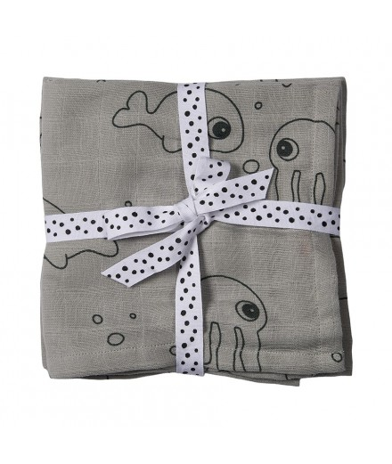 Swaddle 2-pack sea friends Grey