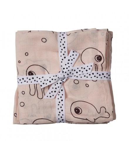 Swaddle sea friends rosa - 2 unidades