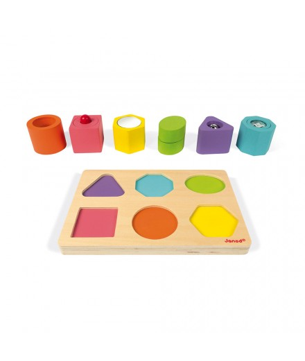 WOOD SHAPES & SOUNDS 6-BLOCK PUZZLE