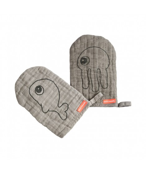 WASH CLOTH 2-PACK SEA FRIENDS GREY