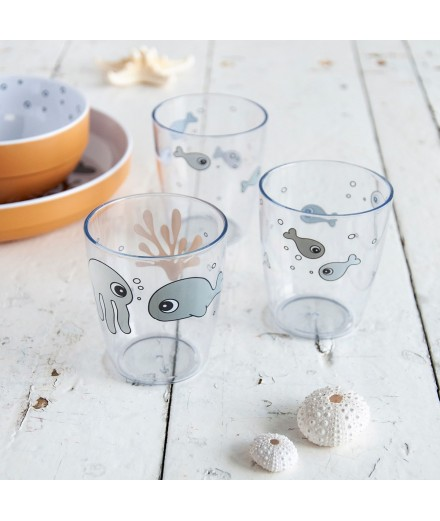 MINI GLASS 3 PCS SEA FRIENDS GREY