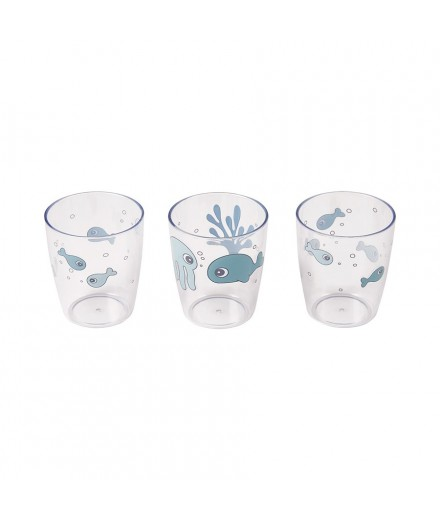 MINI GLASS 3 PCS SEA FRIENDS BLUE