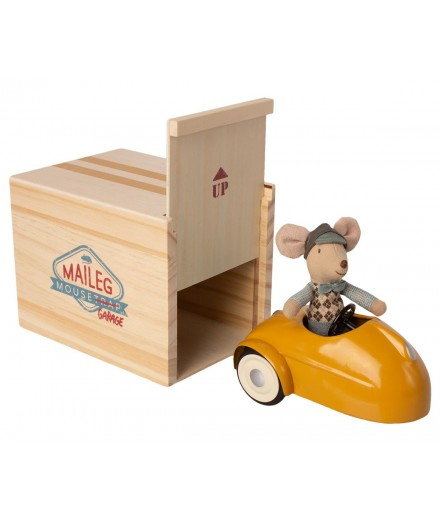 MOUSE CAR WITH GARAGE - YELLOW