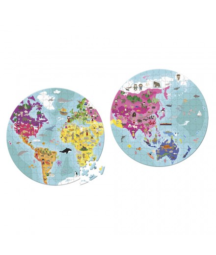 WORLD BOTH SIDE ROUNDED PUZZLE - 208 PCS