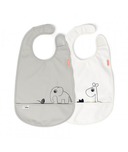 BIB 2-PACK DEER FRIENDS GREY