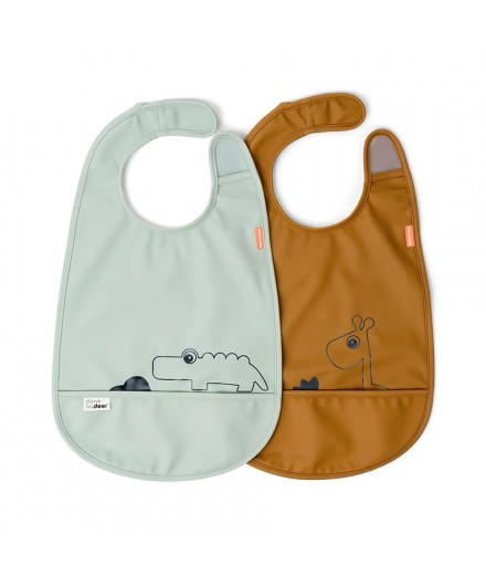 BIB 2-PACK DEER FRIENDS MUSTARD/GREEN