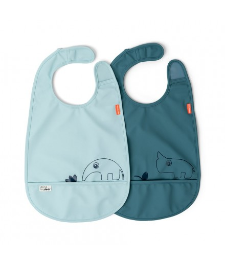 BIB 2-PACK DEER FRIENDS BLUE