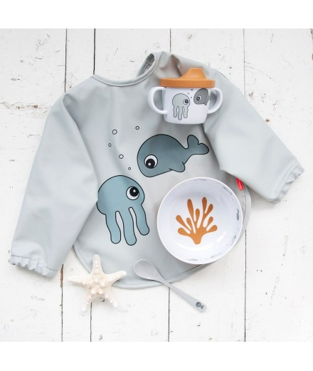 BABETE COM MANGAS 6-18 M SEA FRIENDS CINZA